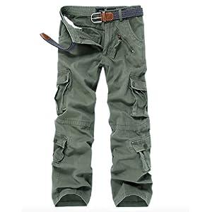 WSLCN Homme Cargo Pantalon de Travail Multi Poches Vintage Combat Militaire Pants(SANS CEINTURE)