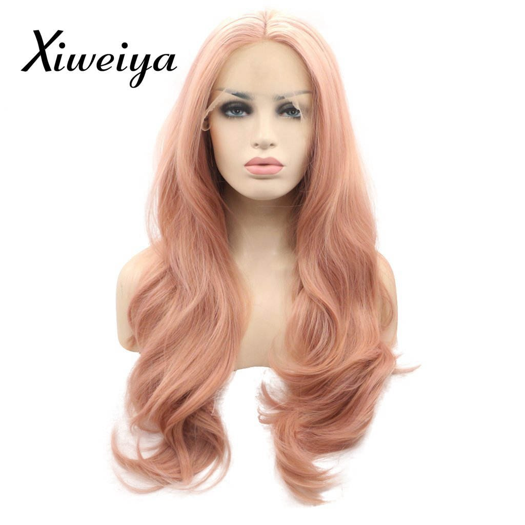 Xiweiya Peach red Wigs For Women Rosie Whiteley Hairstyle Rose Gold Pastel Pink Wig Girls Synthetic Lace Front Wigs With Heat Resistant fiber 20 inch