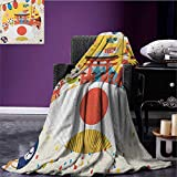 Lantern cool blanket Japanese Inspired Commercial Pattern Various Asian Culture Items Cool Cat Origami Pattern Multicolor size:50''x60''