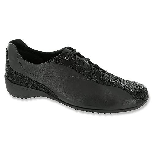 40763d4d8c8 Munro Sydney Black Leather/Crosshatch Women's Lace up casual Shoes ...