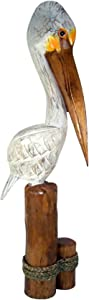 Pelican Standing on Triple Piling Wooden Figurine Statue, Nautical Décor, 40 Inches