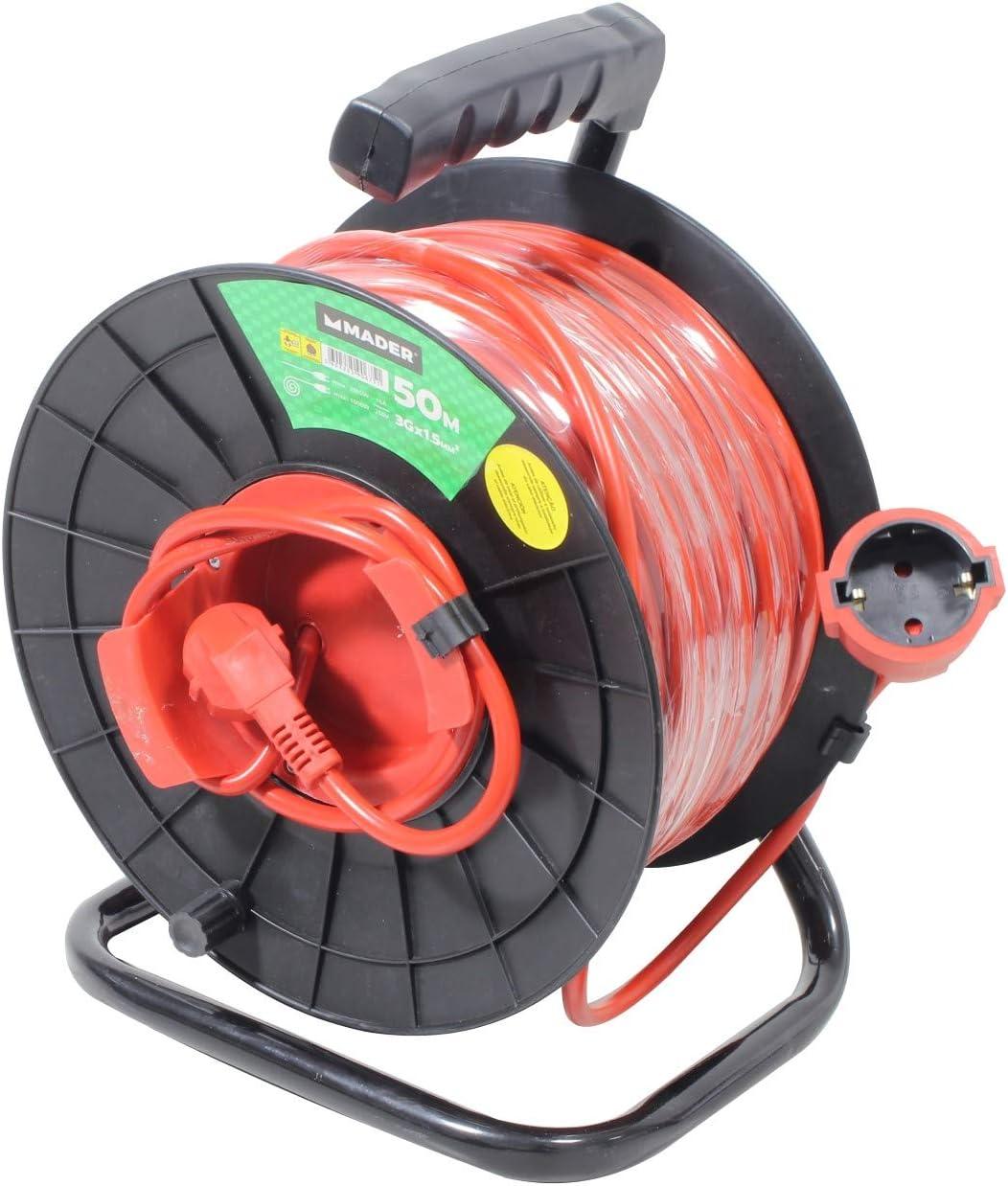 Mader Garden Tools 90675 Prolongador Cord/ón El/éctrico Exterior Enrollacable 50mx1.5mm2-90675