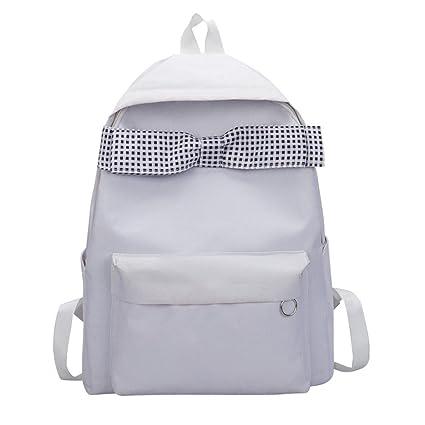 Fashion Backpack, Shybuy Cute Polka Dot Bow Canvas Bookbags Schoolbag  Satchel College Bag Rucksack for 3afc54669f