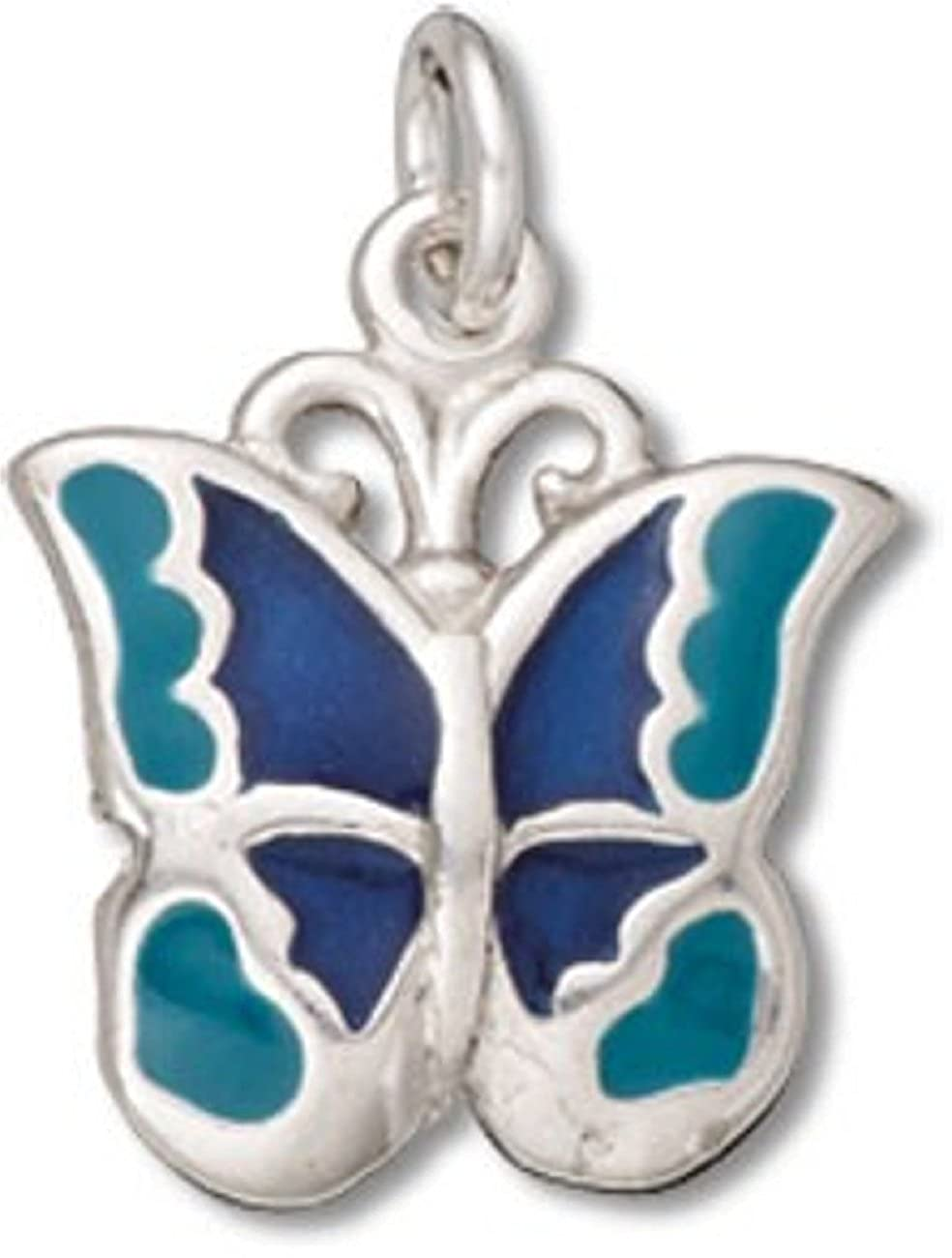 Sterling Silver 7 4.5mm Charm Bracelet With Attached Small Enameled Navy Blue And Teal Butterfly Charm