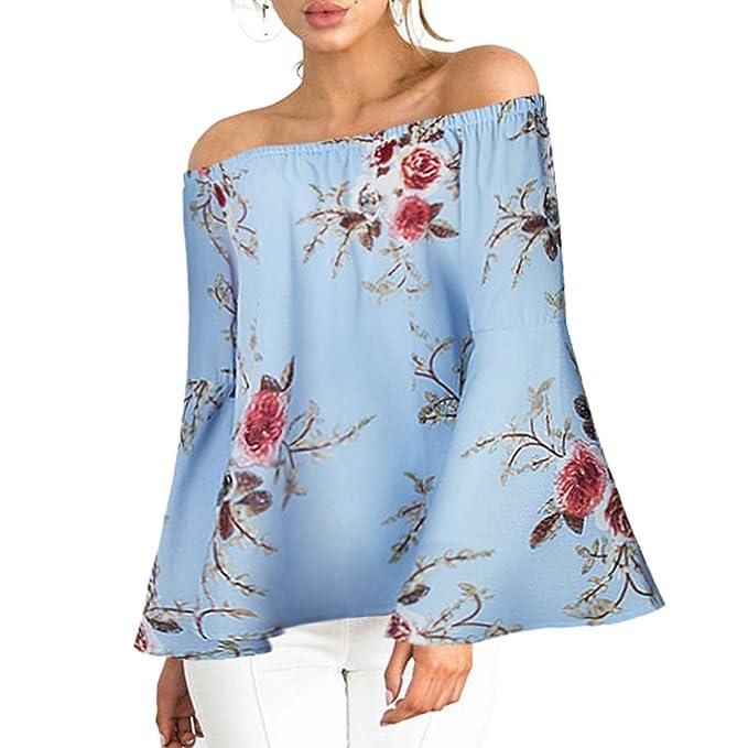 Ropa Camisetas Mujer, Camisas Mujer Verano Elegantes Floral Off Shoulder Casual Tallas Grandes Camisetas Mujer