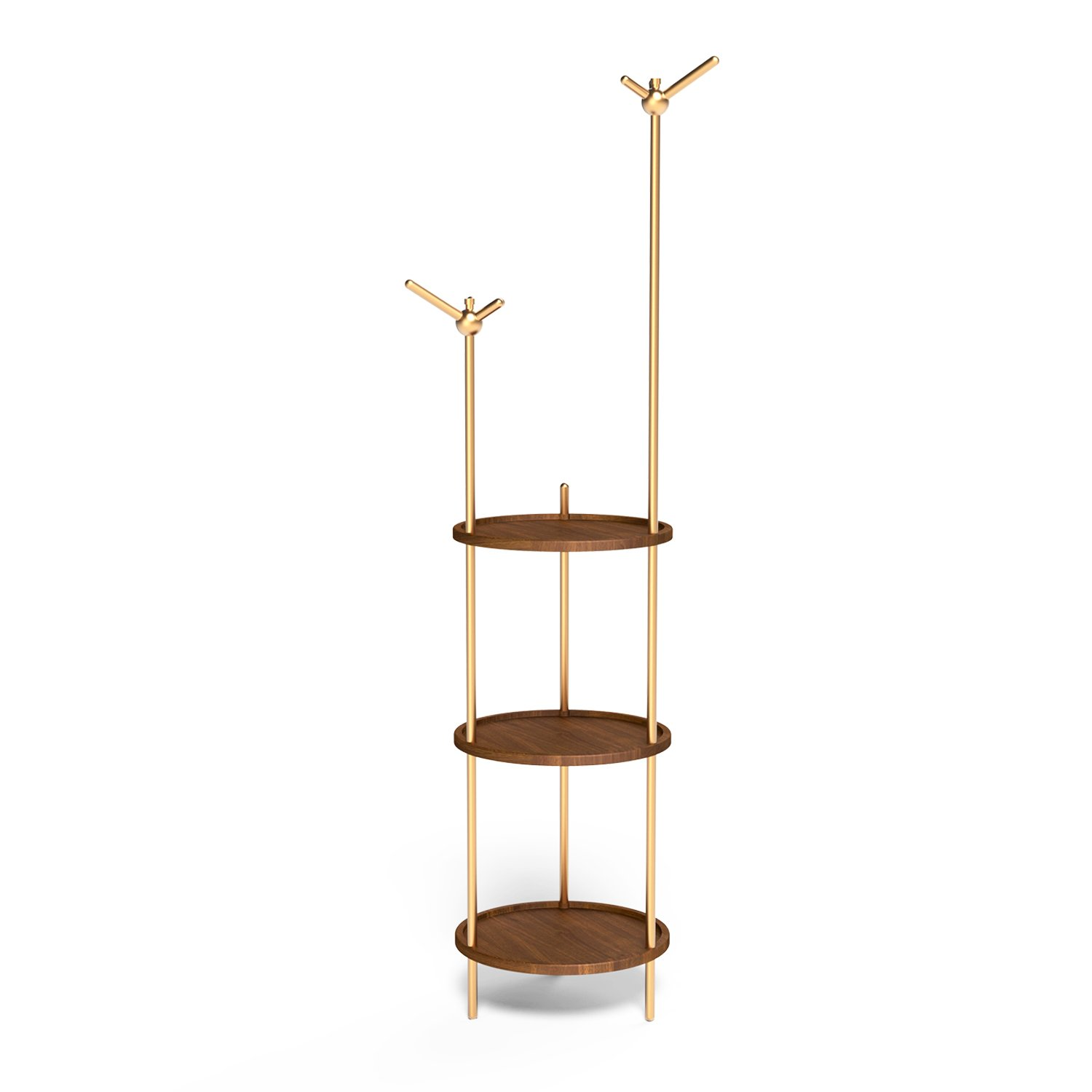Black Walnut Multi-Purpose Coat Rack by Lagom Är Bäst, Designer Hall Stand, Three-layer Storage Boards, Smart Connection, Easy Assembling and Dissembling, Flat Package