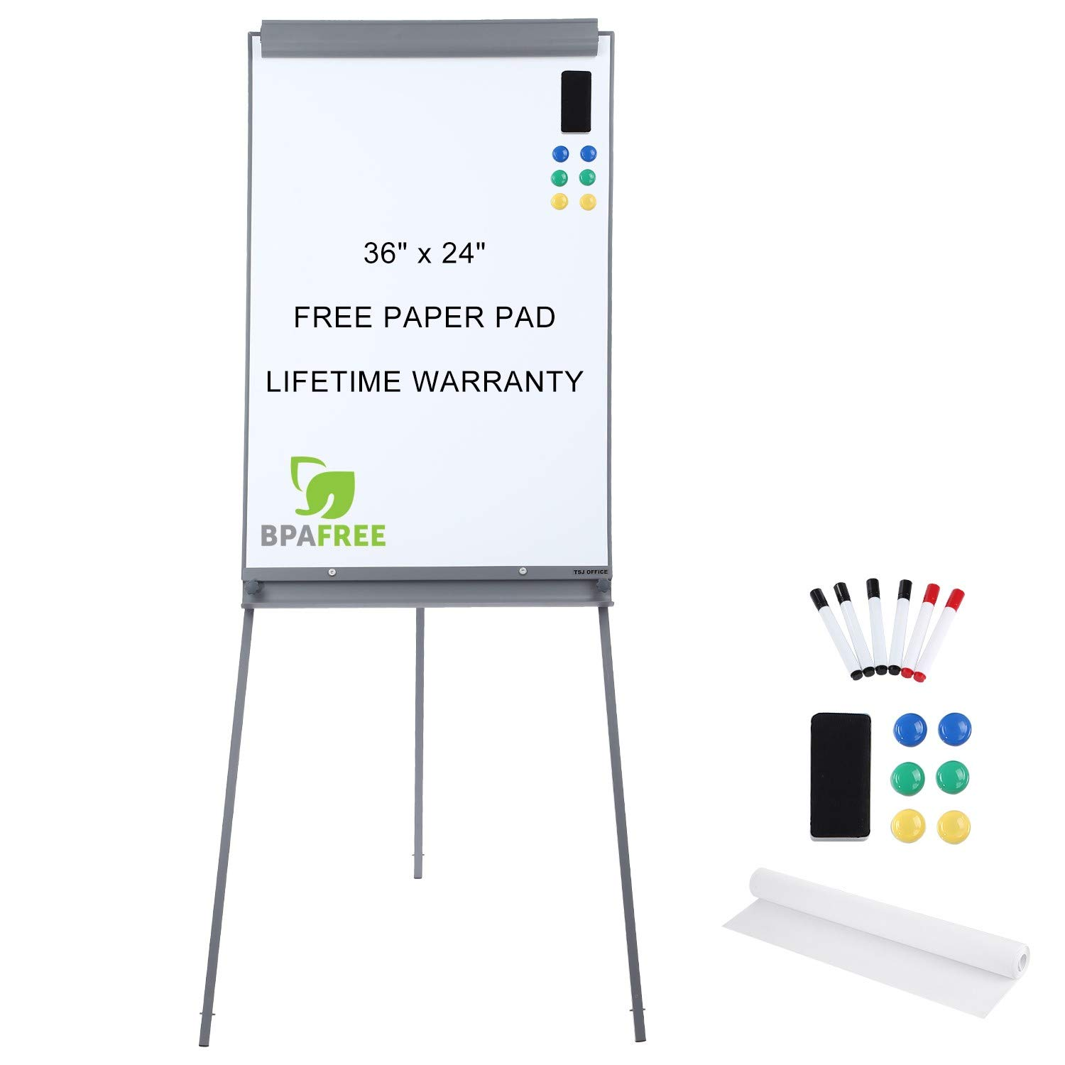 Magnetic Flip Chart Whiteboard Easel - 36 x 24 Inches Tripod Dry Erase White Board with Stand Height Adjustable by TSJ Office by TSJ OFFICE