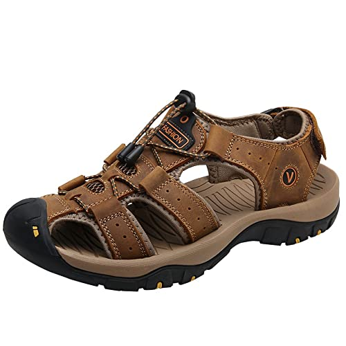 756b5800a832a Cemarssi Mens Sports Sandals Summer Leather Outdoor Fisherman Beach  Athletics Walking Hiking Sandals