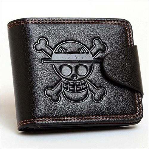 SHALLEN Anime One Piece Luffy Black PU Wallet/Purse Embossed with Luffy's Skull Mark