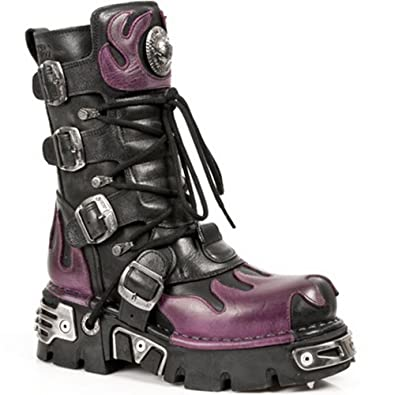 New Rock Newrock 591-S3 Silver Flame Metalic Black Leather Boot Biker Goth  Boots ( 31f6ab57c