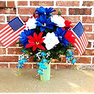 starbouquets Patriotic Cemetery Vase Arrangement ~ Beautiful Red Navy Blue Dahlias and White Rose Silk Flowers and US Flag ~ for a 3 Inch Vase - Fathers Day Memorial Day ~ Cemetery vase Flower 74