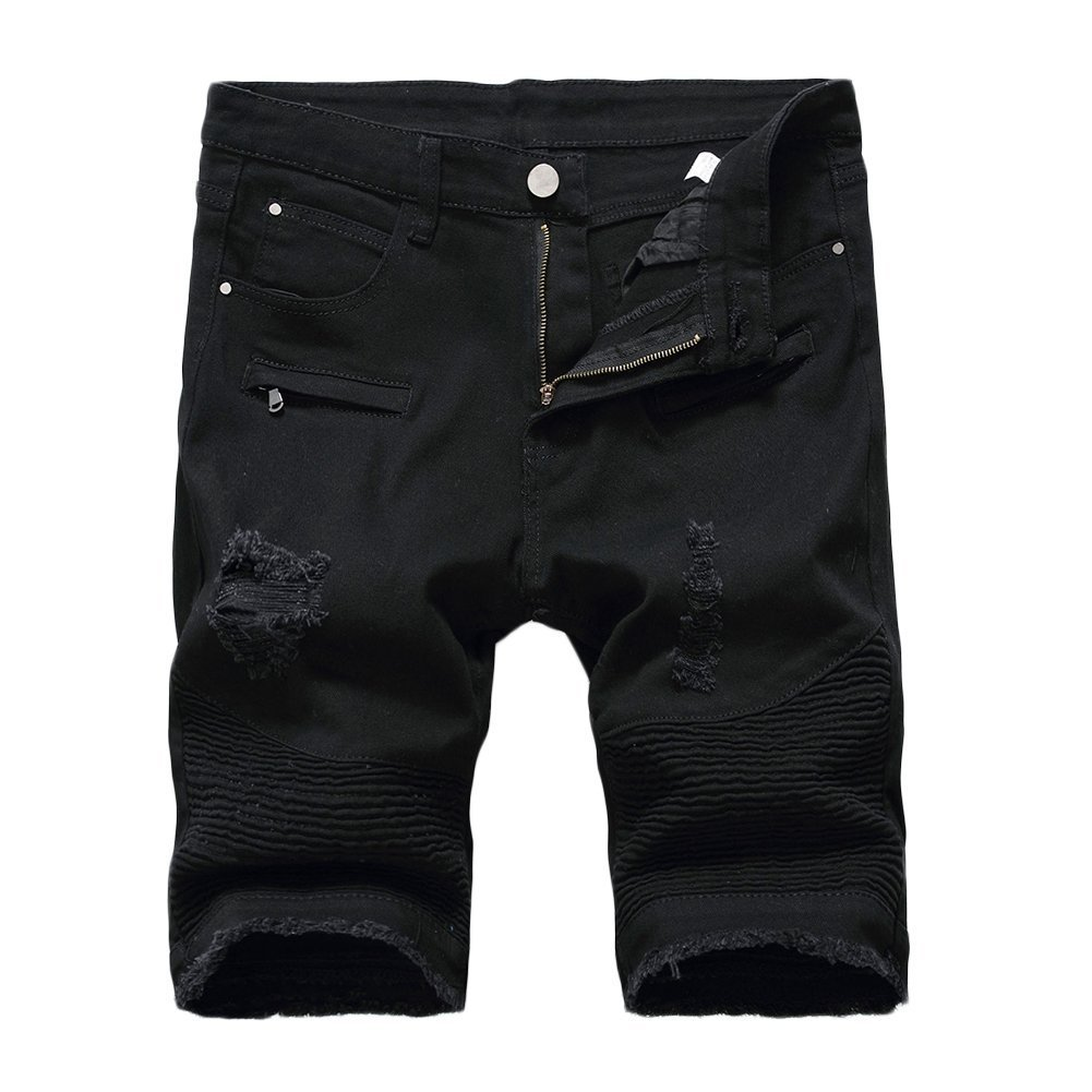 Kool Classic Mens Ripped Destroyed Distressed Jeans Denim Shorts Ripped-black W30