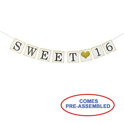 Sweet 16 Birthday Banner Gold Glitter Sixteen Decorations Party Favors Supplies