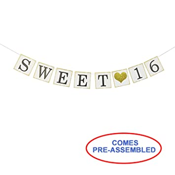 amazon sweet 16 birthday banner gold glitter sweet sixteen