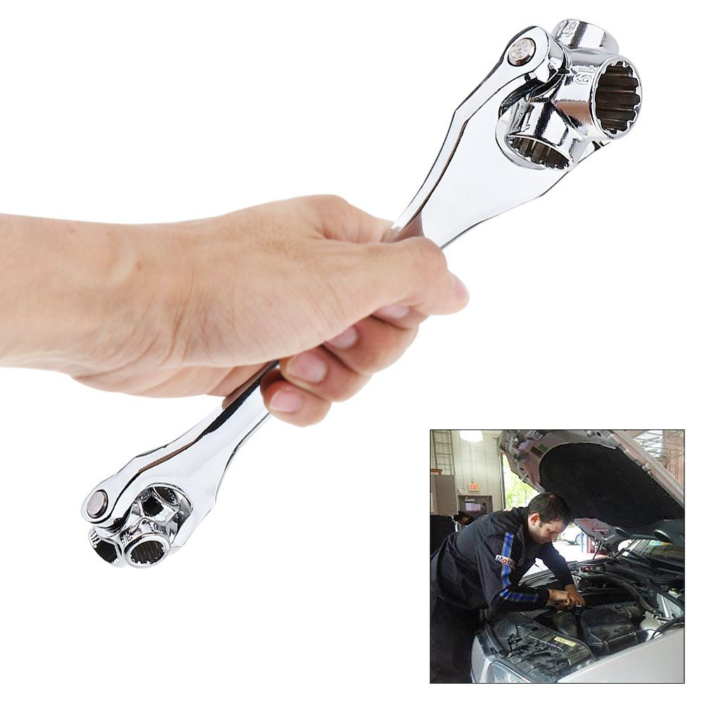 52 In 1 Multifunction 8-19mm Double Head Torque Socket Wrench with 360 Degree Rotation and 12 Teeth Type for Furniture Car Repair