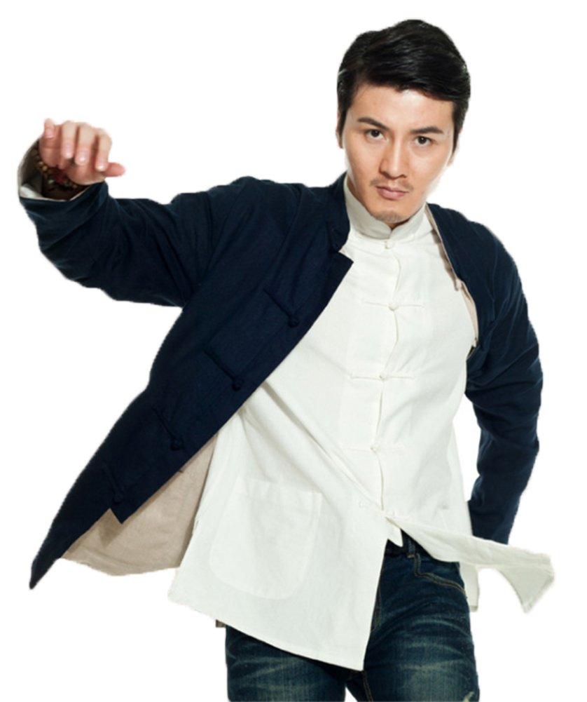 ezShe Men's Mandarin Collar Long Sleeve Buttoned Reversible Coat with Pockets, NB L