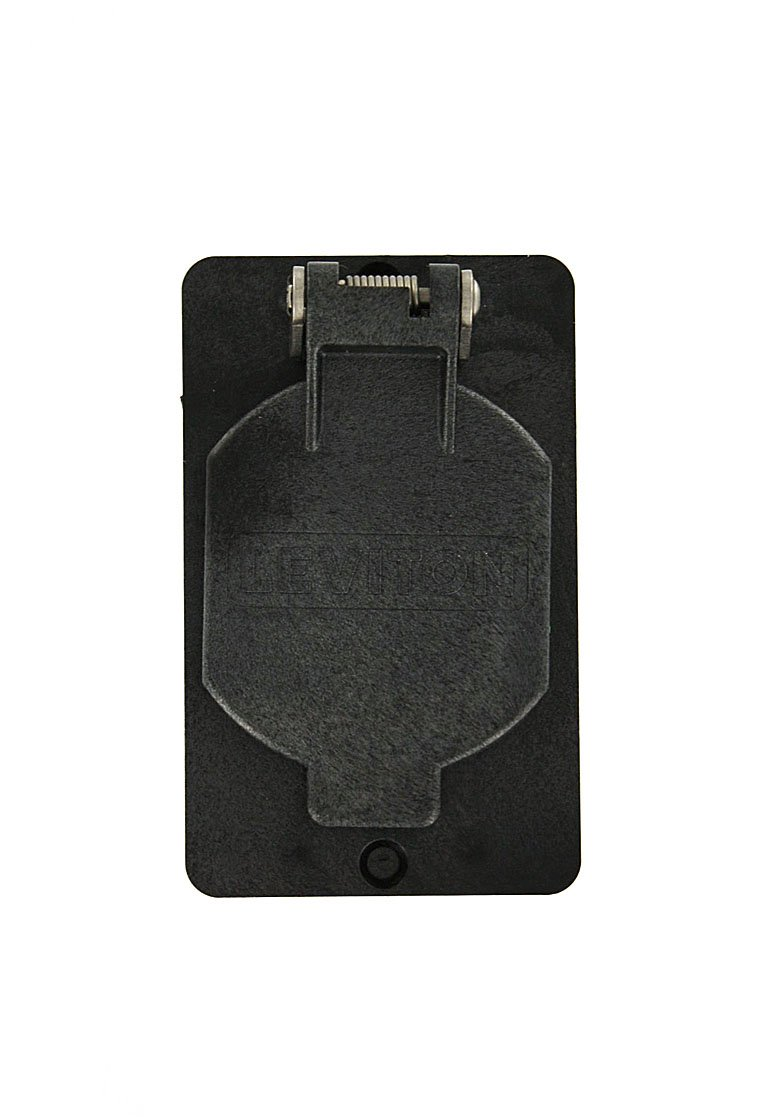 Weather-Resistant Black Flip-Lid Single-Gang Leviton 3057-E Coverplate 1.39-Inch Diameter