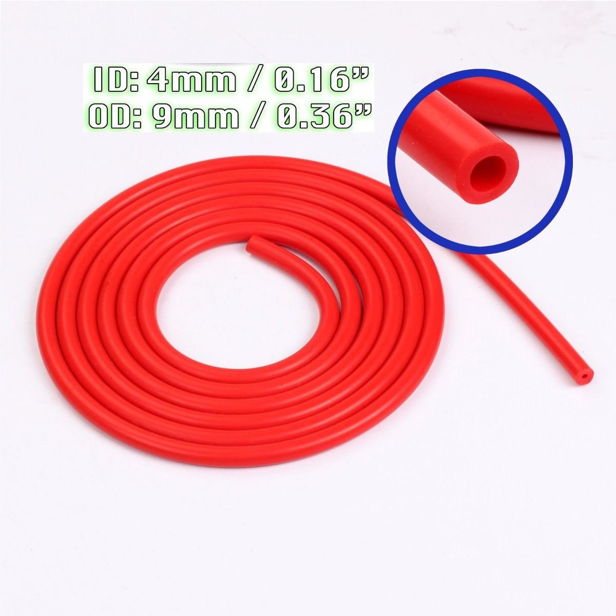 Ronben Car Engine 4mm Silicone Vacuum Tube Hose Silicon Tubing 16.4ft 5 Meters Kit (Red)