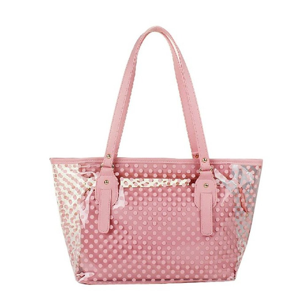 Top Shop Womens Casual Polka Dot Clear Tote Bag Transparent Beach Handbag Pink Shoulder Bag