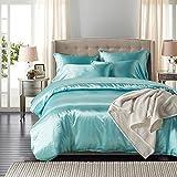 LOVE(TM)3Pcs Luxury Soft Silky Satin Duvet Cover Set King Size,Lake Blue(1 Duvet Cover+2 Pillow Shams)(Comforter Not Included)