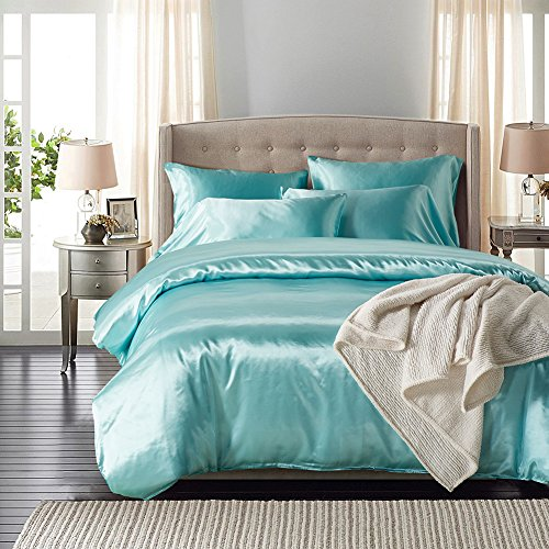HOMIGOO 2PCS Silk Like Fabric Summer Cool Bedding Set Solid Comforter Cover Twin Light Blue