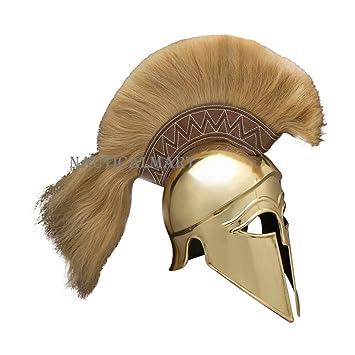 Cursiva Corinthian casco (latón) con penacho por Nauticalmart
