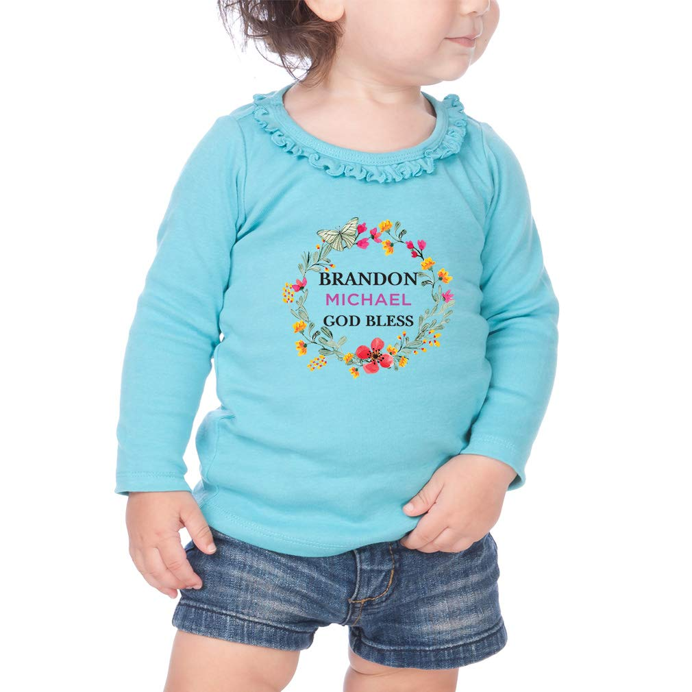 Personalized Bless Flowers Cotton Girl Toddler Long Sleeve Ruffle Shirt Top
