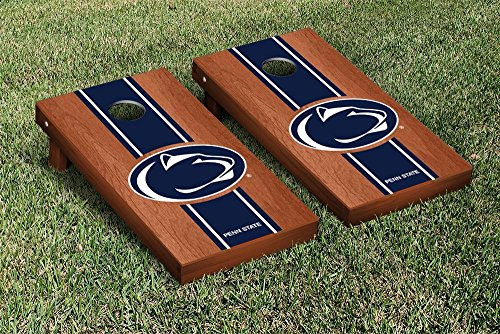 Penn State PSU Nittany Lions Cornhole Game Set Rosewood Stained Stripe Version by Victory Tailgate
