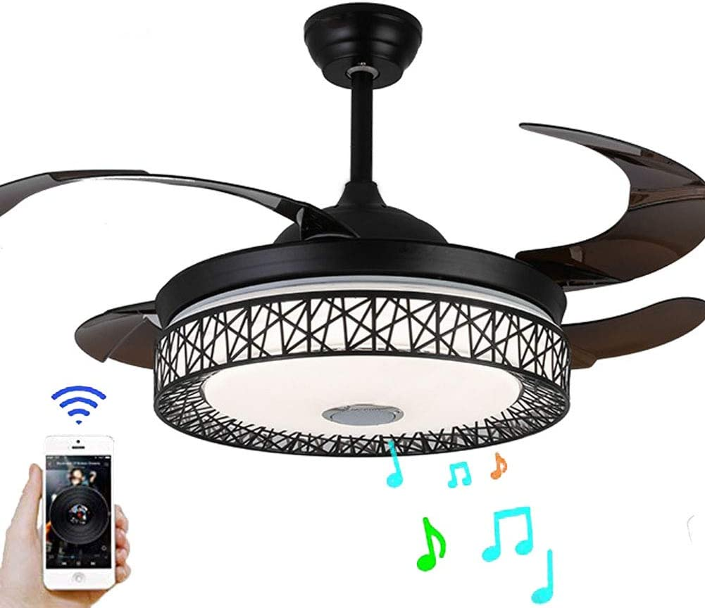 BDenise 42 Inch Invisible Ceiling Fan with Light and Remote Control, Creative Bluetooth Retractable Blades Chandelier Fans with 3 Lights Dimmable and 3 Speeds for Bedroom Dining Room(Black-upgraded)