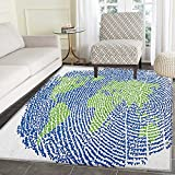 World Map Anti-Skid Area Rug Map of the World Fingerprint Style Continents Asia Europe Africa America Door Mat Increase 3'x4' Navy Blue Green