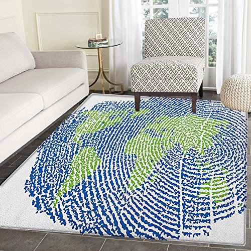 World Map Anti-Skid Area Rug Map of the World Fingerprint Style Continents Asia Europe Africa America Door Mat Increase 3'x4' Navy Blue Green by smallbeefly