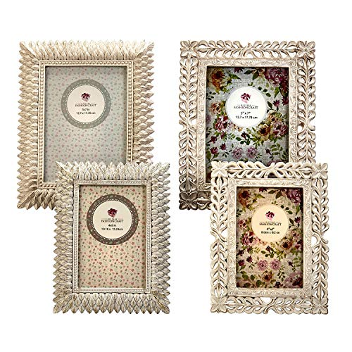 Vintage Baroque Ornate Antique Picture Frames ~ Set of 4 Frames for (2) 4 x 6 inch Photos and (2) 5x7 inch Photos, Ivory Coated and Brushed with Gold ~ ()