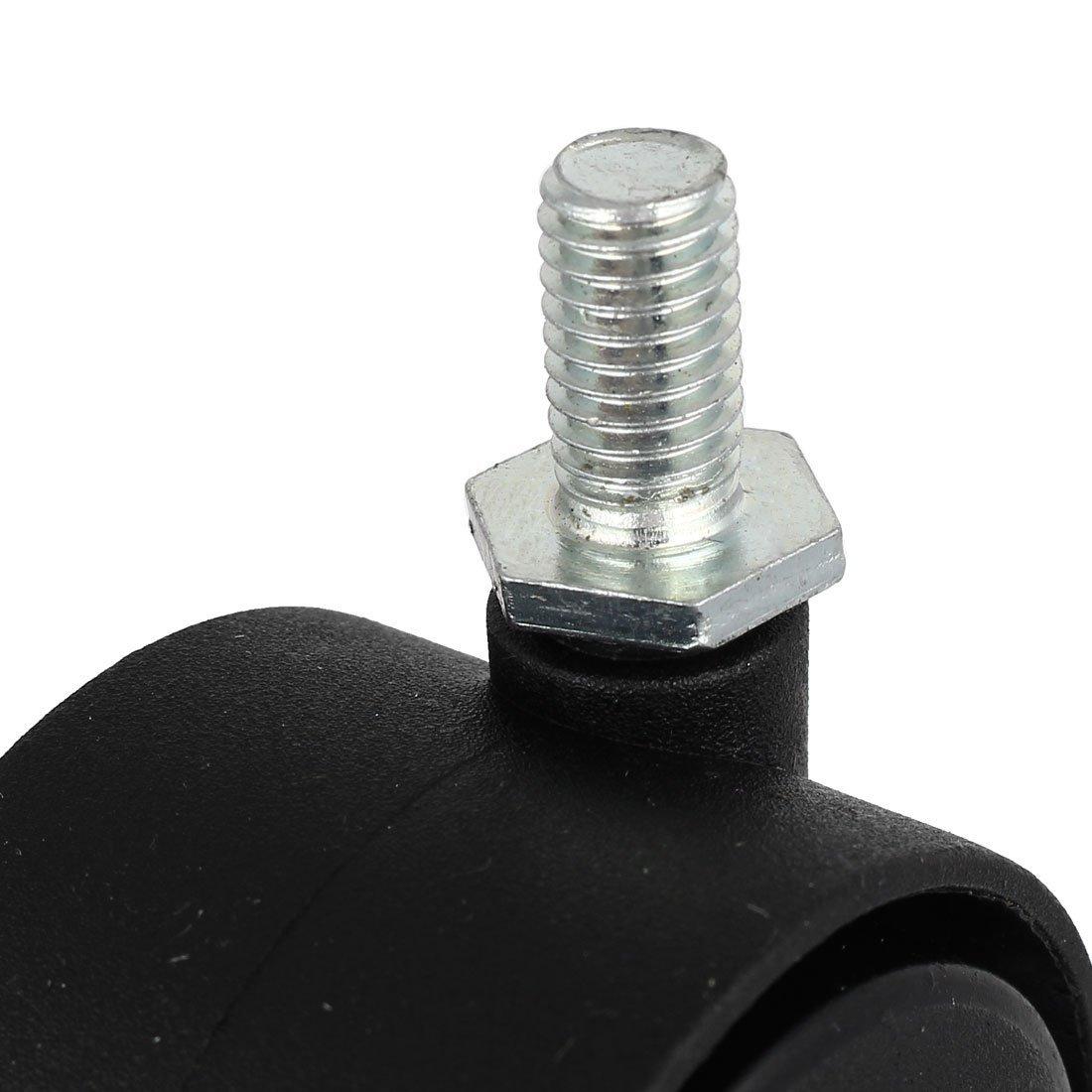 eDealMax 8 mm x 15 mm Con rosca del vástago 1, 5 pulgadas de diámetro giratoria de ruedas dobles Ruedas Negro 10PCS: Amazon.com: Industrial & Scientific