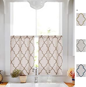 """Taupe Tier Curtains Moroccan Print for Kitchen Moroccan Print Cafe Curtains Kitchen Window Curtain Sets for Bathroom 1 Pair 26"""" W x 24"""" L"""