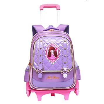 8804ae0c57ce ... Fanci Bow-knot Preschool Trolley Rolling School Backpack Book Bag for Primary  Girls Wheeled Backpack Carry On Luggage with Six Wheels