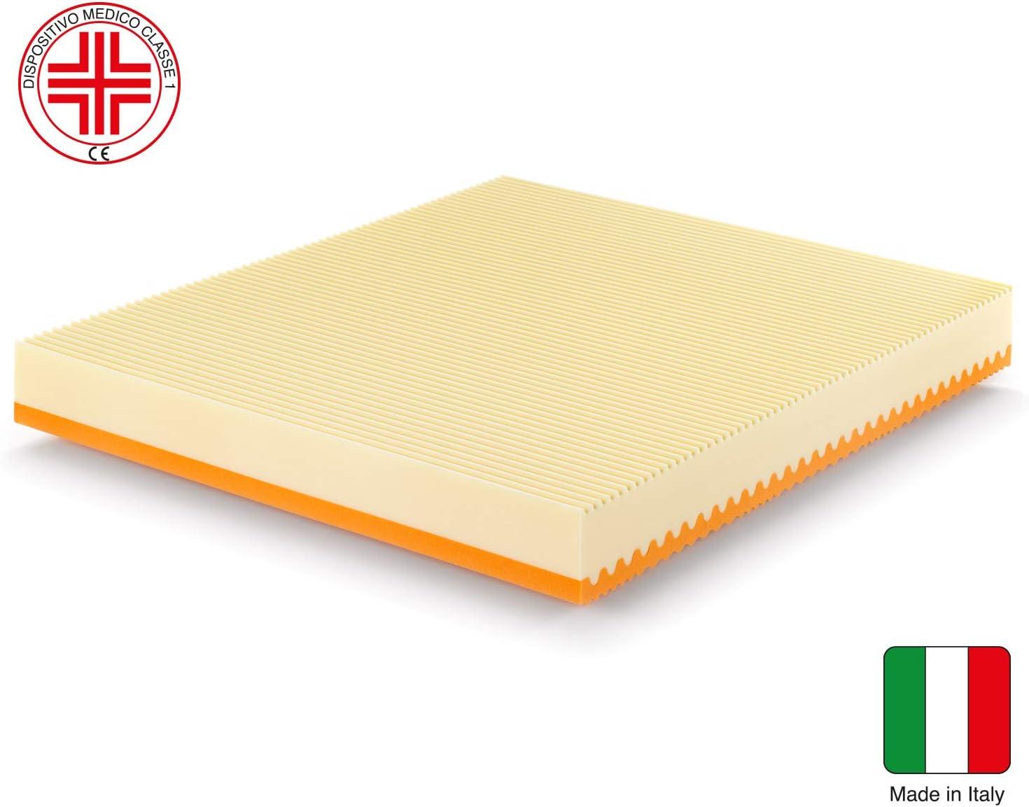 Marcapiuma - Colchón viscoelástico Matrimonio Memory 150x190 Alto 20 cm - Sunrise Plus - H2 Medio/Firme 5 Zonas Producto Sanitario CE Funda ...