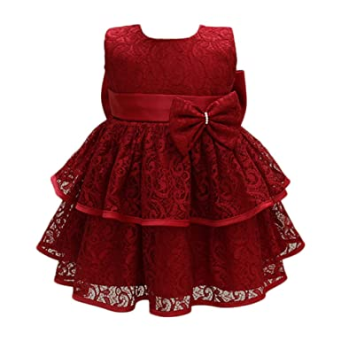 d793b7bb4d2c1 Glamulice Baby Girls Tulle Lace Princess Party Dresses Pageant Birthday Formal  Gown for Toddler Red 0