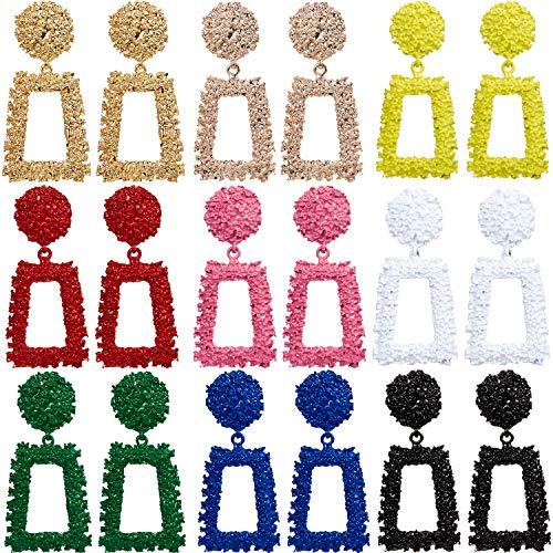 9 Pairs Statement Drop Earrings Geometric Dangle Earrings Raised Design Metal Earrings for Women Girls Favor, 9 - Design Earrings Square