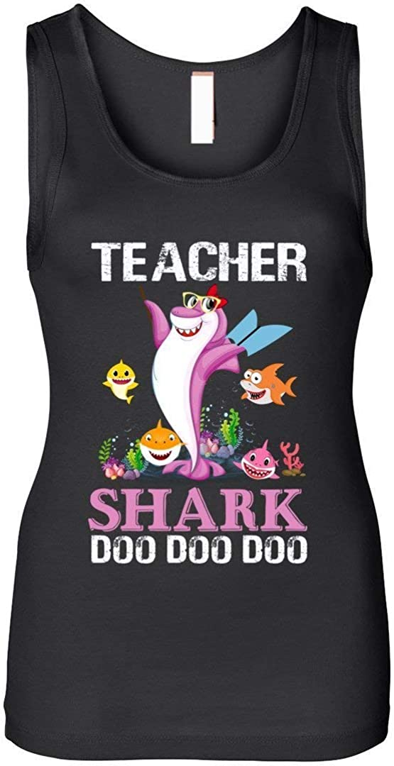Teacher Shark Doo Doo Doo Funny Gift Teacher Tank Top