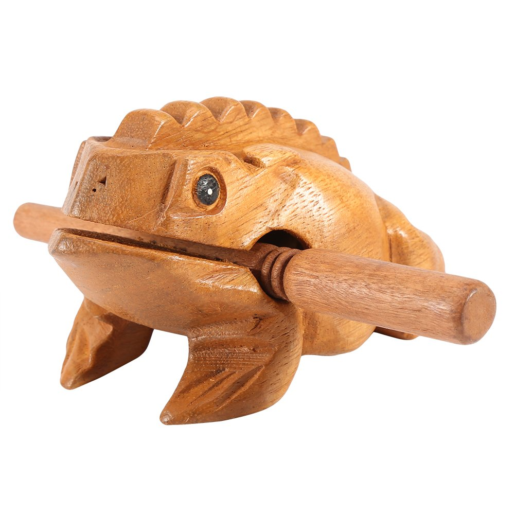 Thailand Traditional Craft Wooden Lucky Frog Croaking Musical Instrument Home Office Decor(12.7CM) by GLOGLOW