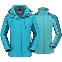 CAMEL CROWN 3 en 1 Chaqueta de Esquí Impermeable para Mujer con Forro Polar Chaqueta A Prueba de Viento con Capucha y…