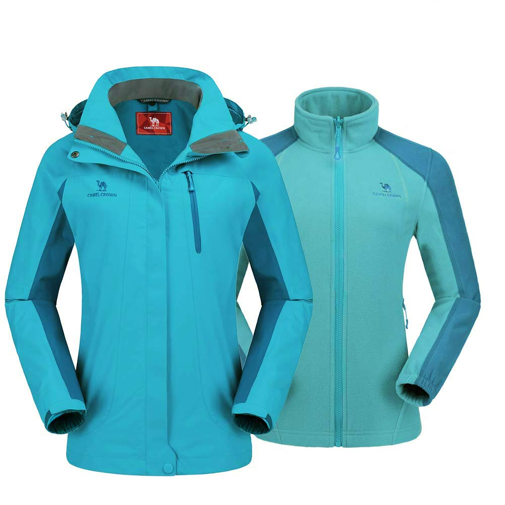 08c0a74e CAMEL CROWN Women's Waterproof Jacket with Hood, Windproof Rain Jacket with  fleece Warm Inner, Ski Coats 3 in 1 Lightweight Sports Mountain Jacket
