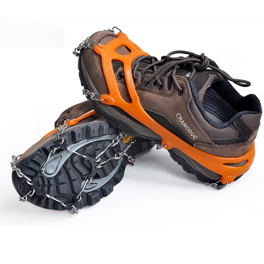 Meanhoo 8 Teeth Shoes Anti-slip Ice Cleats Shoe Ice Climbing Hiking Plates Boot Tread Grips Traction Crampon Chain Spike Sharp Snow Walking Walker Bad Weather Anti-Slip 30x10x2CM L (black)