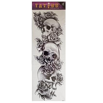 Just Fox Temporäres Tattoo Diseño Rose Tatuaje Calavera Cuerpo