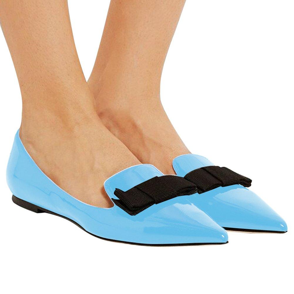 Eldof Women's Flats, Pointed Toe Flats Pumps, Patent Leather Flats Pumps, Walking Dress Office Classic Comfortable Flats B07DHKNY2N 10 B(M) US Blue