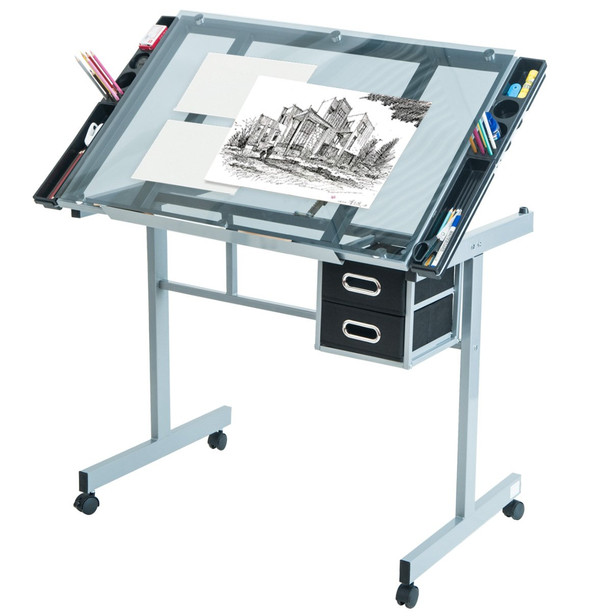 Harper&Bright Designs Adjustable Drafting Table Drawing Desk with Tempered Glass Top, Two Drawers and Castors by Harper&Bright Designs (Image #1)