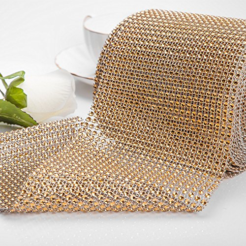 Glitter Holiday Bling Ribbon (Approx 10 Yard Rhinestone Diamond Ribbon, Bling Mesh Wrap Roll for Event Decorations, Wedding Cake, Bridal Baby Shower, Birthdays, DIY Arts Crafts, Vase and Holiday Party Decorations (Gold))