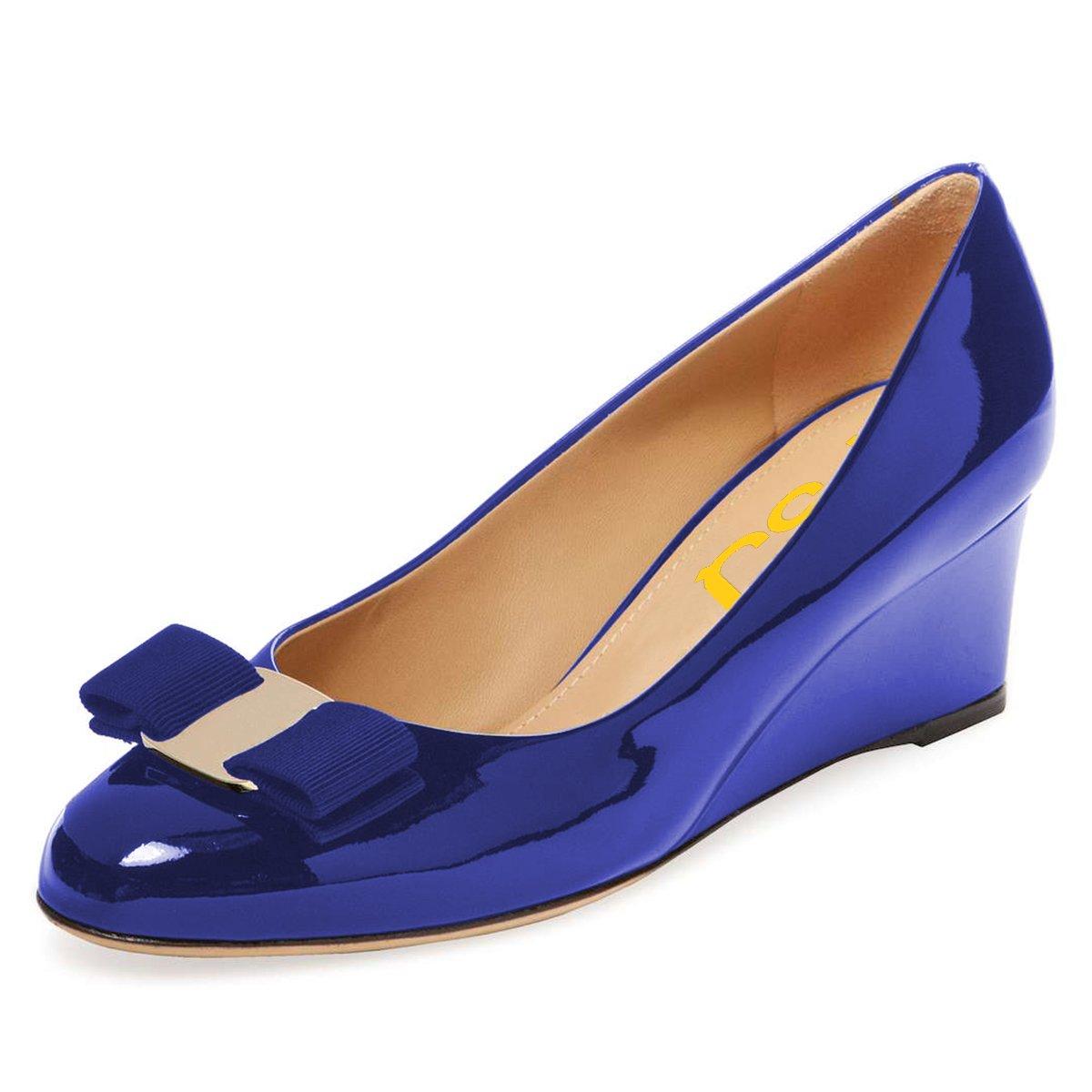 FSJ Women Elegant High Wedge Heels Pumps Closed Toe Comfort Bow Formal Dress Shoes Size 8 Royal Blue