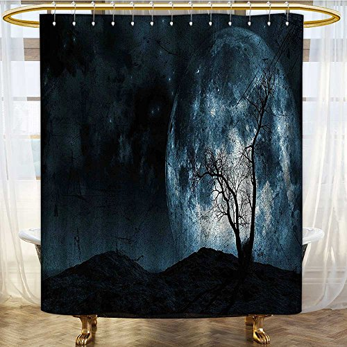 (Mikihome Shower Curtains Fabric Night Sky with Tree Silhouette Halloween Colors Bathroom Decor Set with Hooks W72 x H72)
