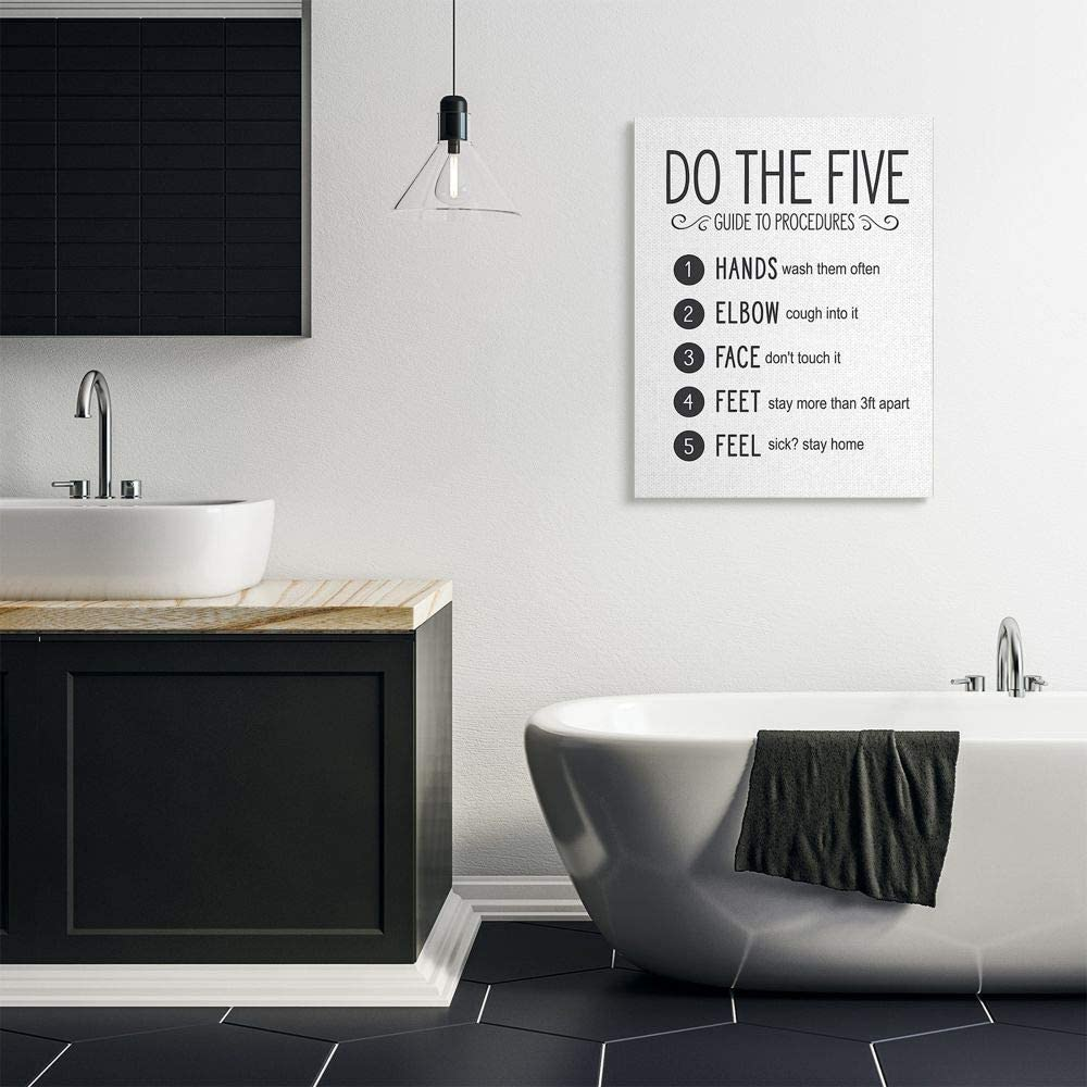 Designed by Lettered and Lined Wall Art 30 x 40 Stupell Industries Five Procedures of Cleanliness Virus Office Sign